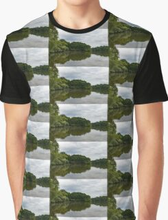 Green and Gray Summer Mirror Graphic T-Shirt