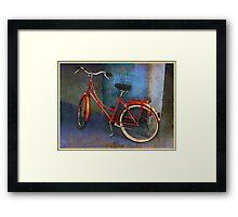 red bike in italy Framed Print