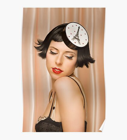 Young pretty women in vintage clothing Poster