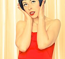 Pretty young woman in red by Pixmover
