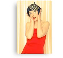 Pretty young woman in red Canvas Print