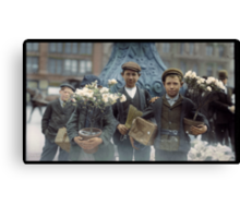 Boys with Flowers, New York. 1908. Canvas Print