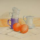 Still life with cups and oranges by Solotry