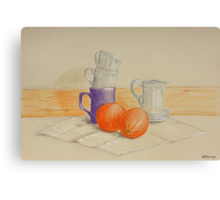 Still life with cups and oranges Canvas Print