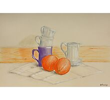 Still life with cups and oranges Photographic Print