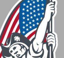 American Patriot Holding Up Stars Stripes Flag Sticker