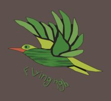 A Green Cartoon Bird Flying High T-shirt Kids Clothes