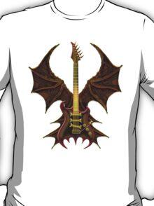 Brown Gothic Bat Guitar T-Shirt