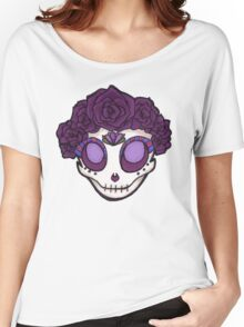 Purple Rose Crown Skull Women's Relaxed Fit T-Shirt