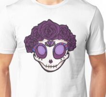 Purple Rose Crown Skull Unisex T-Shirt