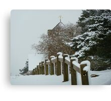 St Martha on the Hill, Near Chilworth, Guildford in the Snow Canvas Print