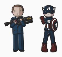 Chibi Agent Coulson and Captain America by myfluffy