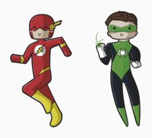 Chibi Flash and Green Lantern by myfluffy