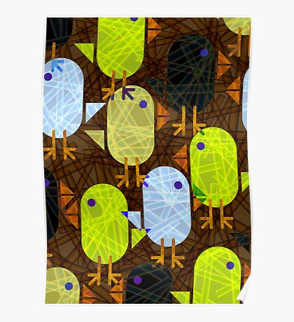 Farmyard chicks & straw pattern Poster