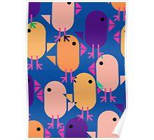 Farmyard chicks - blue tones Poster