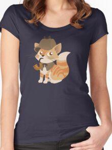Cute Sherlock Holmes Kitten Women's Fitted Scoop T-Shirt