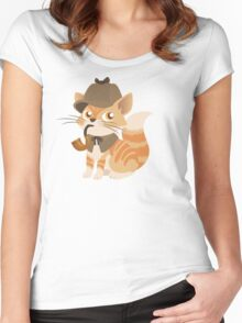 Cute Sherlock Holmes Kitten Women's Fitted Scoop T-Shirt