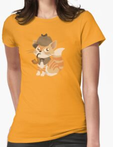 Cute Sherlock Holmes Kitten Womens Fitted T-Shirt