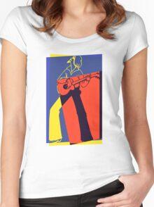 Retro Pop Art Guitarist Women's Fitted Scoop T-Shirt