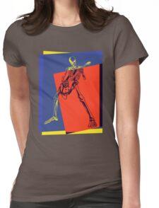 Pop Art Skeleton Rocker Womens Fitted T-Shirt