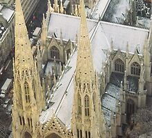 Aerial View of St. Patricks Cathedral, View from Top of the Rock Observation Deck, New York City by lenspiro