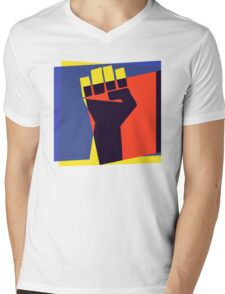 Black Power Fist Mens V-Neck T-Shirt