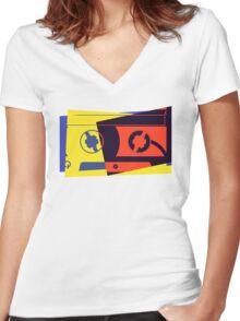 Pop Art Cassette Tape Women's Fitted V-Neck T-Shirt