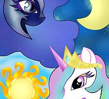 Celestia and Nightmare Moon by kristine-h