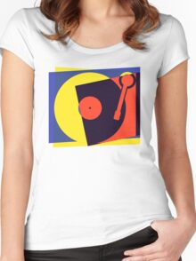 Pop Art Turntable Women's Fitted Scoop T-Shirt