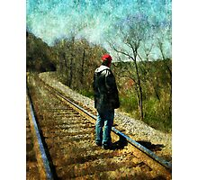 Standing on the tracks  Photographic Print