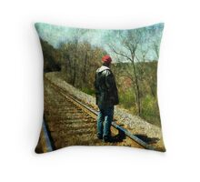 Standing on the tracks  Throw Pillow
