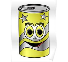 Yellow Soda Can Cartoon Poster