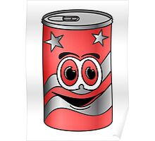Red Soda Can Cartoon Poster