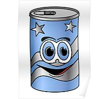 Blue Soda Can Cartoon Poster