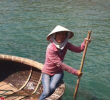 LADY IN FISHING BASKET Sticker