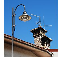 Old Stone Chimney and Street Light Photographic Print