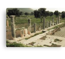 Vintage photo of ruins of in ancient city Canvas Print