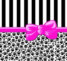 Dog Paws, Traces, Stripes - Ribbon, Bow - White Black Pink by sitnica