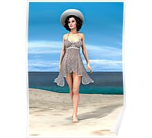Young Woman on the Beach Poster
