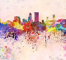 Jacksonville skyline in watercolor background by Pablo Romero