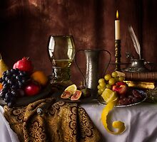 Fruit Table with Books & Roemer Glass by Jon Wild