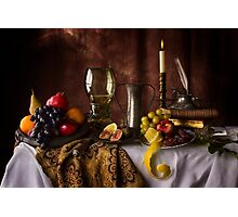 Fruit Table with Books & Roemer Glass Photographic Print