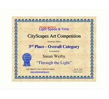 """3rd Place- Overall """"Cityscapes""""Category- Through the Light Art Print"""