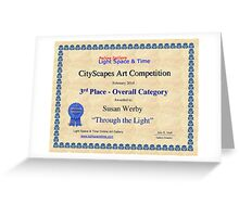 """3rd Place- Overall """"Cityscapes""""Category- Through the Light Greeting Card"""