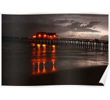 naples pier at night during storm Poster