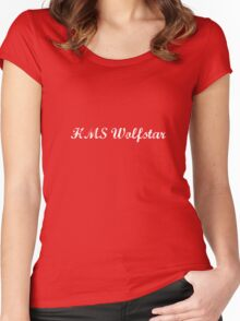 HMS Wolfstar White Text Women's Fitted Scoop T-Shirt