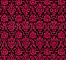 Bold Hot Pink and Black Damask Pattern by cikedo
