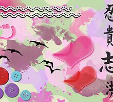 Teenage Dreams - Buttons, Hearts, Birds and Green  by sitnica