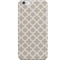 Warm Linen Grey Quatrefoil Pattern iPhone Case/Skin
