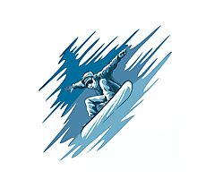 Jumping snowboarder Photographic Print